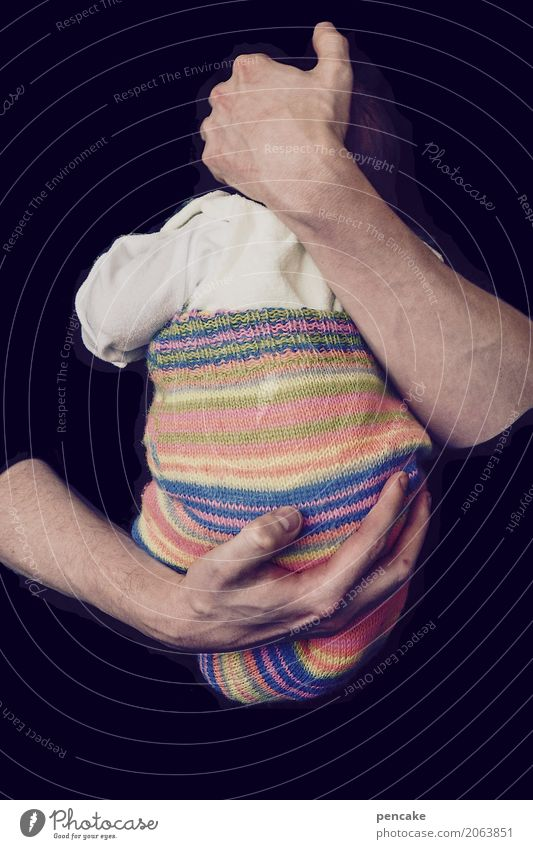 young father Masculine Baby Arm Hand Sign Touch To swing Embrace Authentic Happy Emotions Warm-heartedness Sympathy Love Hope Paternal instinct