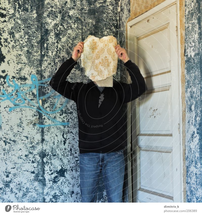 memory mask Face Wallpaper Room Human being Man Adults 1 Ruin Building Wall (barrier) Wall (building) Door Paper Old Retro Blue Nostalgia Surrealism Decline