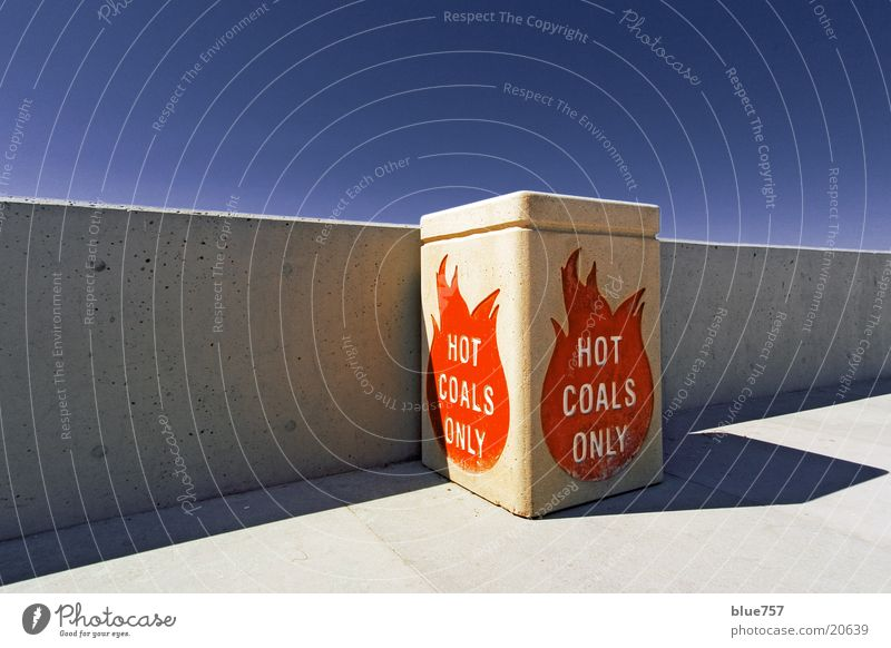Hot Coals Only Gray Red Drop shadow White Letters (alphabet) Blaze Obscure Perspective straight Sky Blue Concrete Container Line concrete wall grey Characters