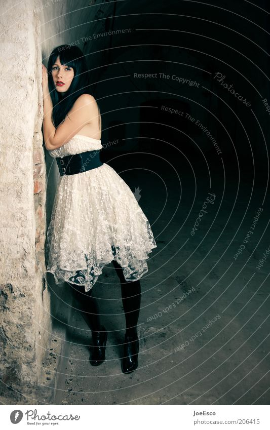 Woman Youth (Young adults) Beautiful Dark Feminine Wall (building) Style Sadness Wall (barrier) Fashion Adults Elegant Lifestyle Cool (slang) Stand
