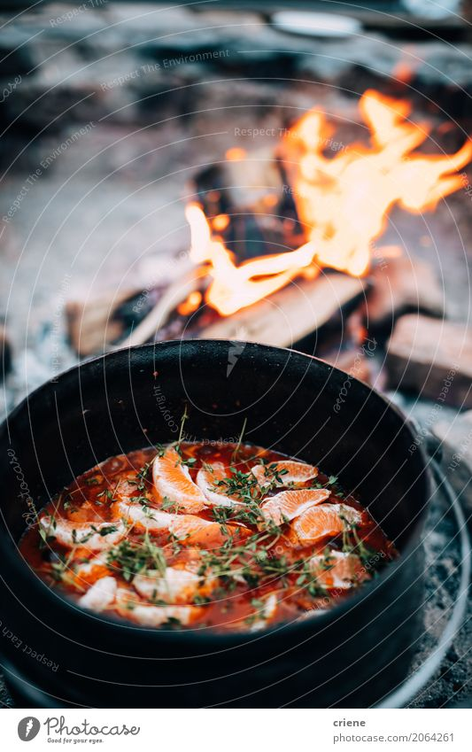 Cooking soup over open fire Food Orange Soup Stew Eating Pot Lifestyle Relaxation Vacation & Travel Adventure Camping Kitchen Warmth Wild Bonfire cooking wood