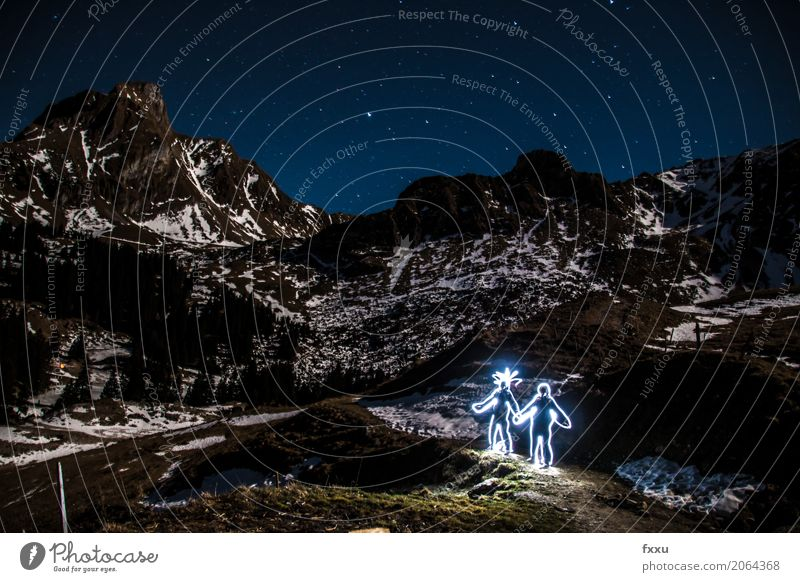 Light Graffiti Pair Light painting Lighting effect Couple Love Romance Funny Man Woman Stars Starry sky Star (Symbol) Mountain Long exposure Dusk Switzerland
