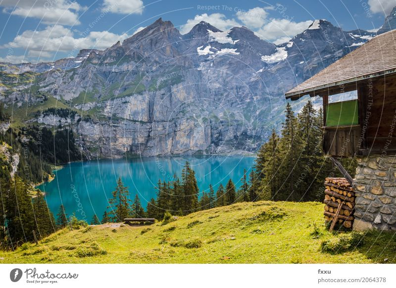 Hats off Lake Oeschinen in Switzerland Mountain Landscape Nature kandersteg Blue Alps Sky Dusk wallpapers Blue sky Vacation & Travel Bench Reflection Summer