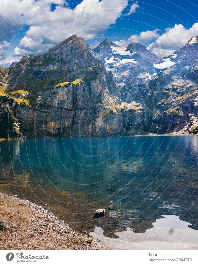 Lake Oeschinen Mountain Landscape Nature kandersteg Switzerland Blue Alps Sky Dusk wallpapers Blue sky Vacation & Travel Bench Reflection Summer Snow Peak