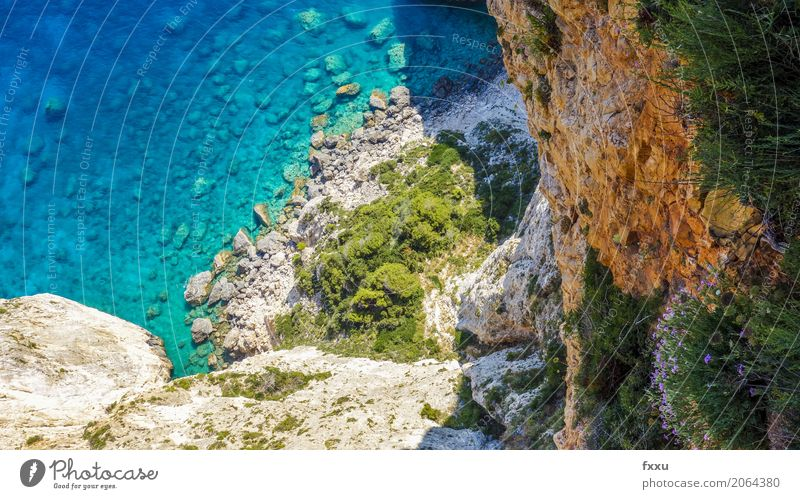 Cliff in Zakynthos Greece Vacation & Travel Summer Ocean Island Rock Watercraft Landscape Blue Coast Crete Nature Idyll Mediterranean sea Panorama (View) Bay