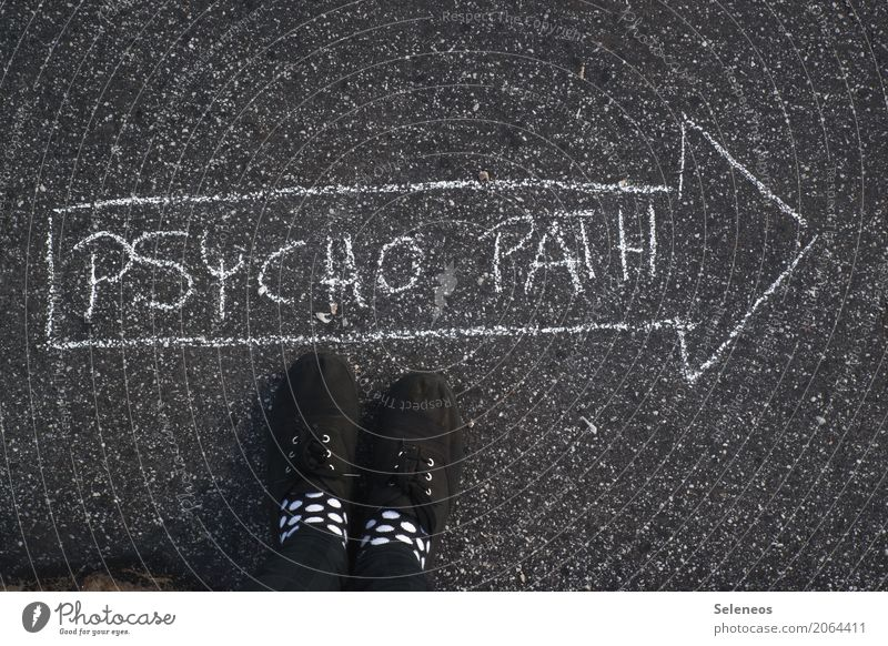 psycho Feet Lanes & trails Sign Characters Signs and labeling Signage Warning sign Road sign Arrow Aggression Threat Illness Crazy Emotions Stress Perturbed