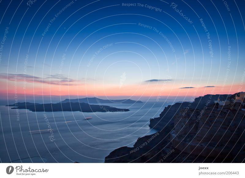 Nature Sky Ocean Blue Red Summer Calm Far-off places Earth Horizon Island Romance Idyll Beautiful weather Dusk Greece