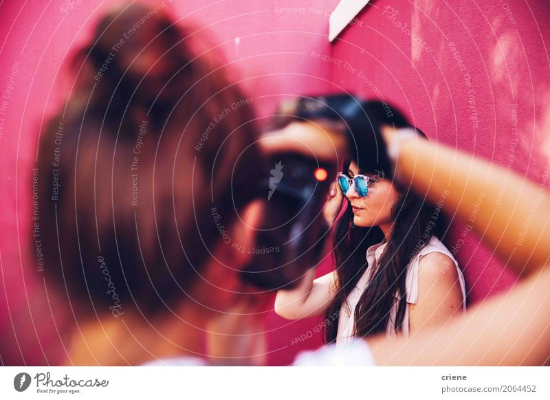 photographer taking photo of woman Human being Woman Youth (Young adults) Young woman Adults Lifestyle Feminine Pink Work and employment Leisure and hobbies