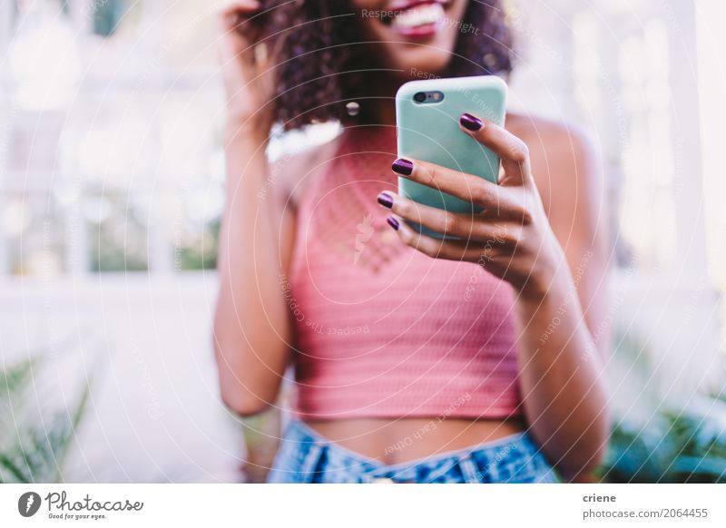 Close-up of woman using smartphone Human being Youth (Young adults) Young woman Lifestyle Feminine Modern Technology Smiling Telephone Internet Cellphone Screen