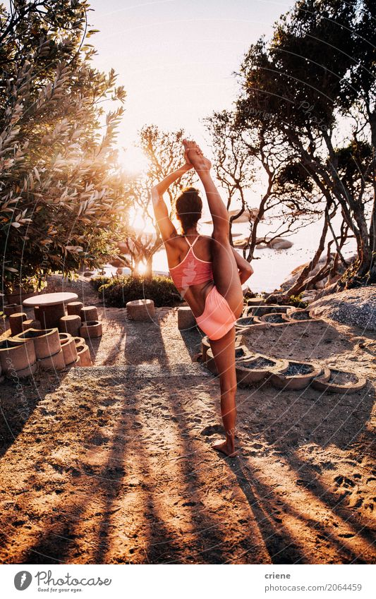 Female Athlete doing standing split outdoor Lifestyle Elegant Personal hygiene Athletic Fitness Leisure and hobbies Summer Dance Sports Sports Training Yoga