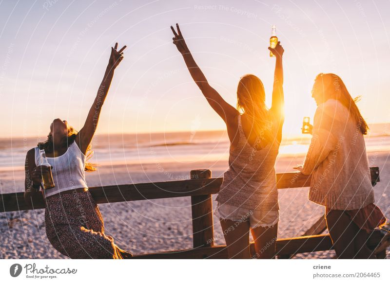 Group of happy friends celebrating with drinks in sunset Human being Vacation & Travel Youth (Young adults) Young woman Summer Joy Beach 18 - 30 years Adults