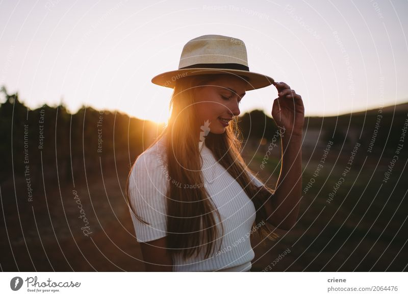 Portrait of Countrygirl on farm in sunset Lifestyle Joy Happy Human being Feminine Young woman Youth (Young adults) Woman Adults 1 18 - 30 years Nature