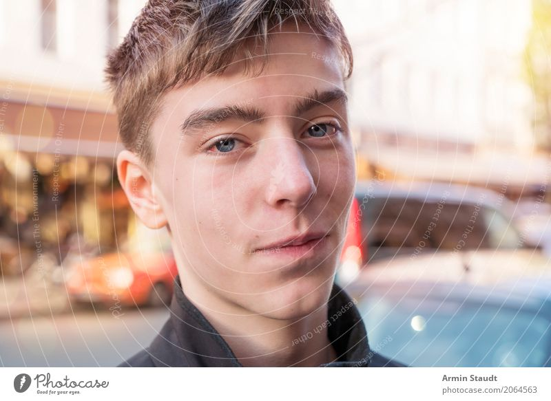 Portrait - Street Lifestyle Style Beautiful Contentment Senses Human being Masculine Young man Youth (Young adults) Face 1 13 - 18 years Beautiful weather Town