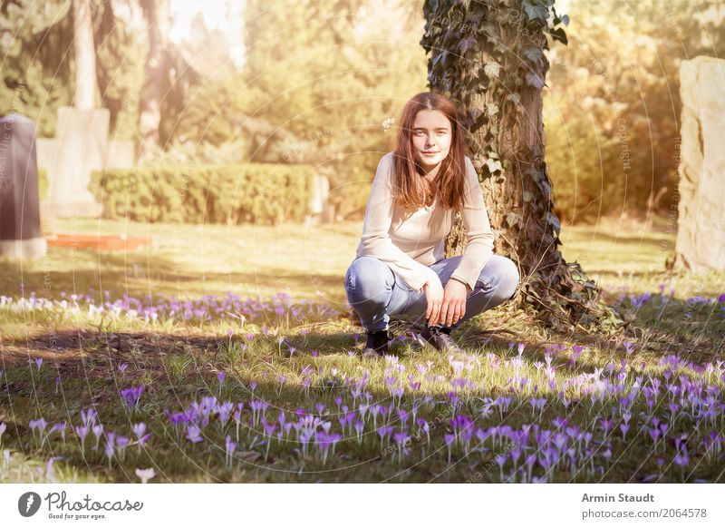 Human being Youth (Young adults) Young woman Beautiful Calm Joy Life Lifestyle Spring Meadow Feminine Garden Contentment Park 13 - 18 years Smiling