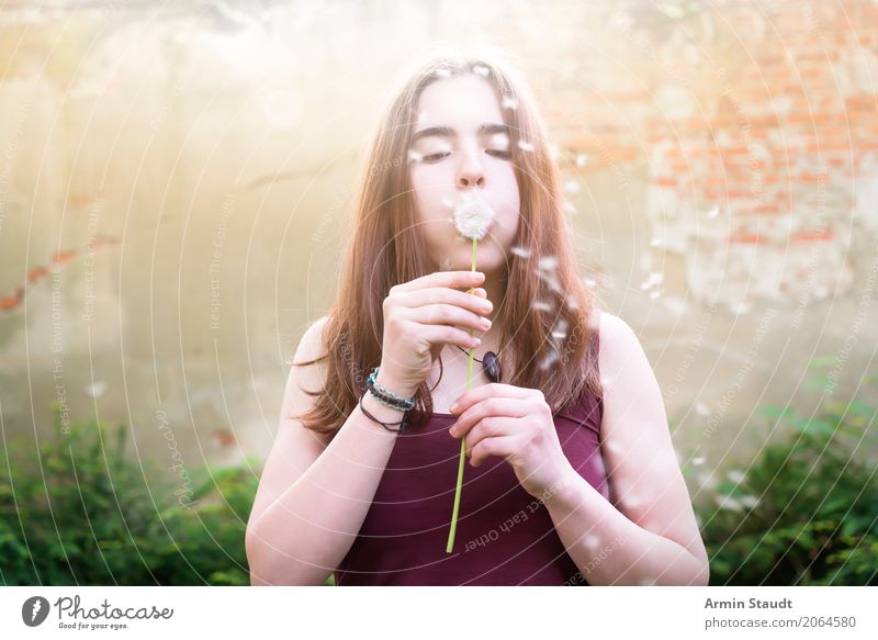 Human being Nature Youth (Young adults) Summer Young woman Beautiful Relaxation Face Life Wall (building) Lifestyle Spring Healthy Feminine Style Playing