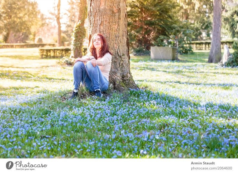 Human being Nature Youth (Young adults) Young woman Tree Flower Relaxation Calm Joy Life Lifestyle Spring Meadow Healthy Feminine Style