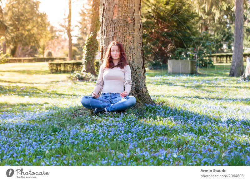 Meditation on spring meadow Lifestyle Style Joy Happy Healthy Harmonious Well-being Contentment Senses Relaxation Calm Fragrance Human being Feminine
