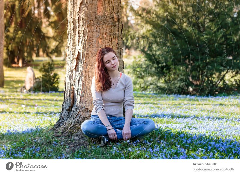 Human being Nature Youth (Young adults) Young woman Beautiful Tree Flower Relaxation Calm Joy Life Lifestyle Healthy Spring Meadow Feminine