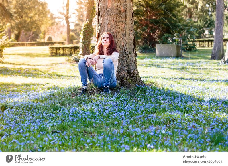 Human being Nature Youth (Young adults) Young woman Tree Flower Relaxation Calm Joy Adults Lifestyle Healthy Spring Meadow Emotions