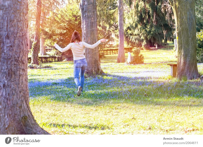 Human being Nature Youth (Young adults) Summer Young woman Tree Landscape Flower Joy Environment Life Lifestyle Spring Meadow Feminine Style