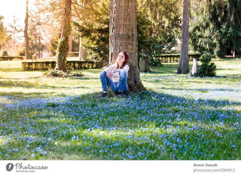 Human being Nature Youth (Young adults) Young woman Tree Flower Relaxation Calm Joy Life Lifestyle Healthy Spring Meadow Feminine Style