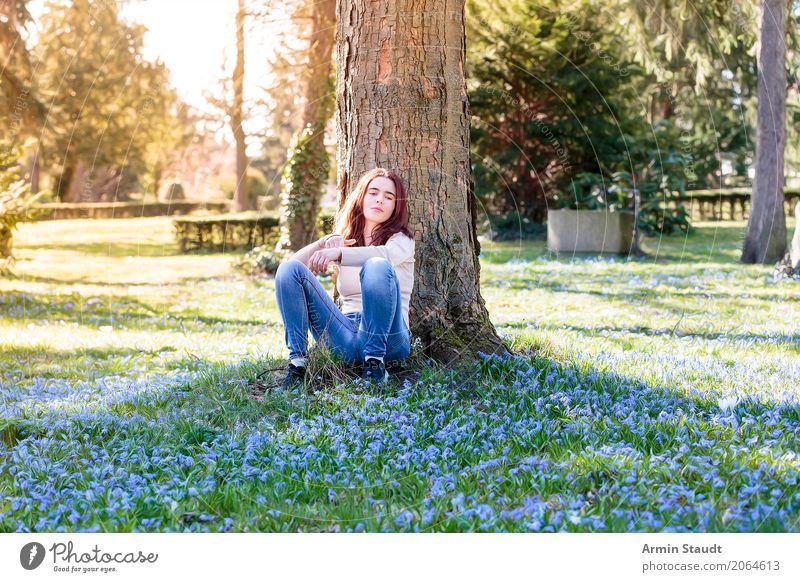 Human being Nature Young woman Tree Flower Relaxation Calm Joy Life Lifestyle Spring Healthy Meadow Feminine Style Happy