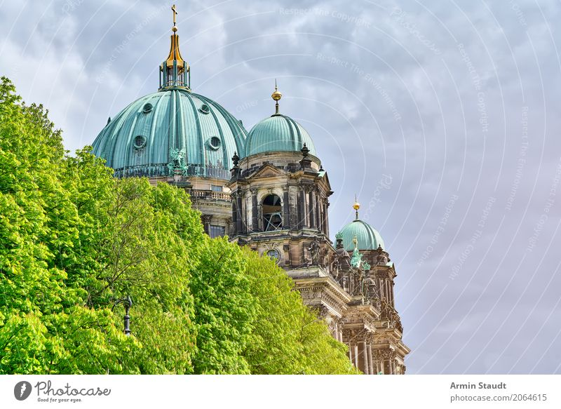 Berlin Cathedral Environment Storm clouds Spring Summer Climate Plant Tree Capital city Downtown Church Dome Palace Park Architecture Facade Roof