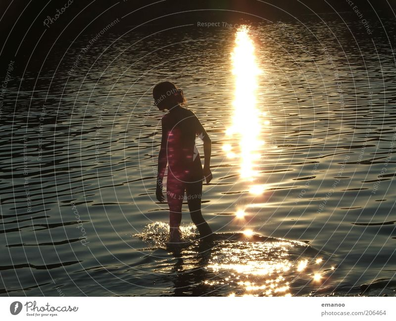Human being Nature Youth (Young adults) Water Beautiful Sun Vacation & Travel Summer Joy Yellow Feminine Freedom Happy Lake Waves Contentment