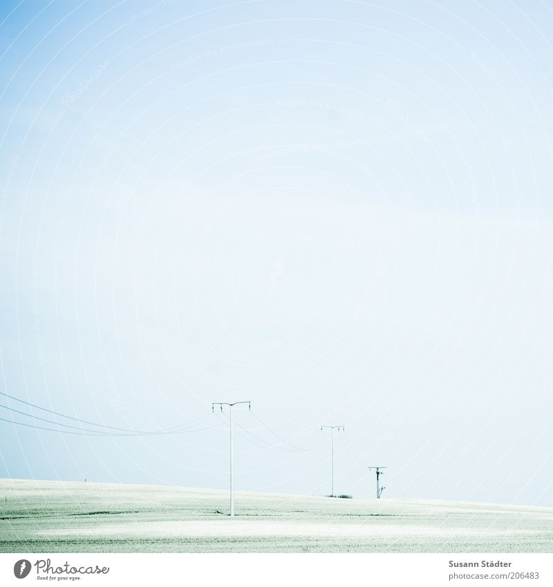 Sky Green Meadow Bright Field Industry Electricity Technology Cable Beautiful weather Agriculture Electricity pylon Flexible High voltage power line