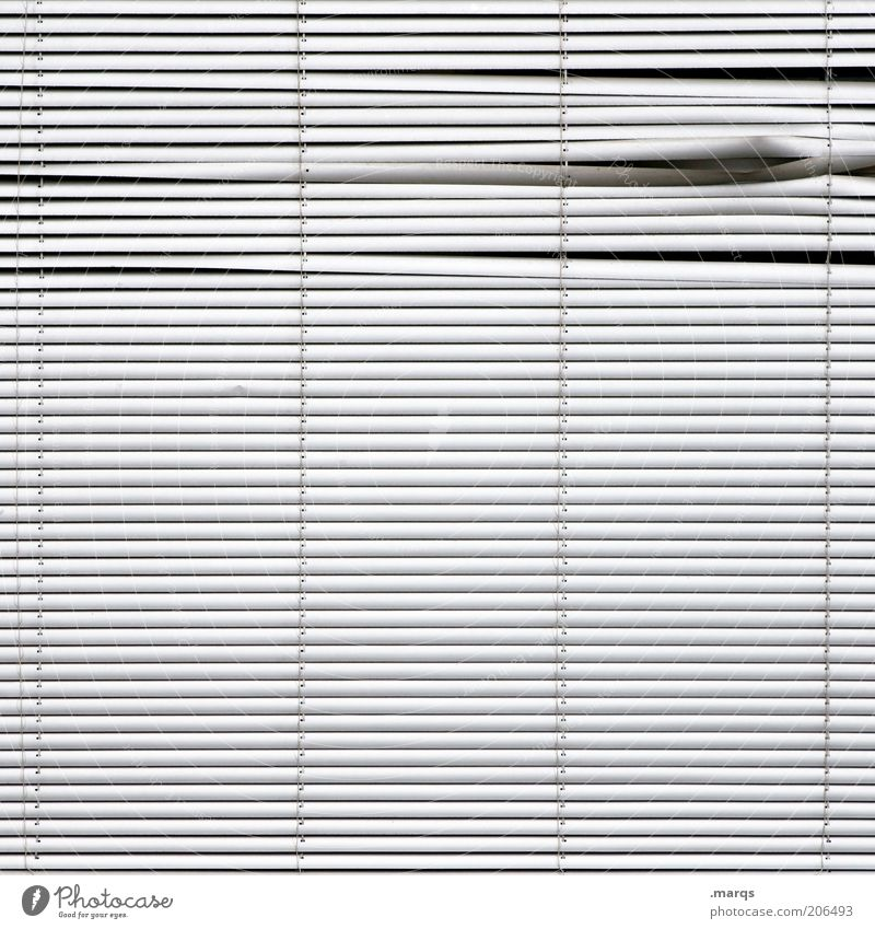 Uneven Design Venetian blinds Line Simple Broken White Symmetry Bend Spy Black & white photo Detail Abstract Structures and shapes Deserted Pattern Stripe Gap