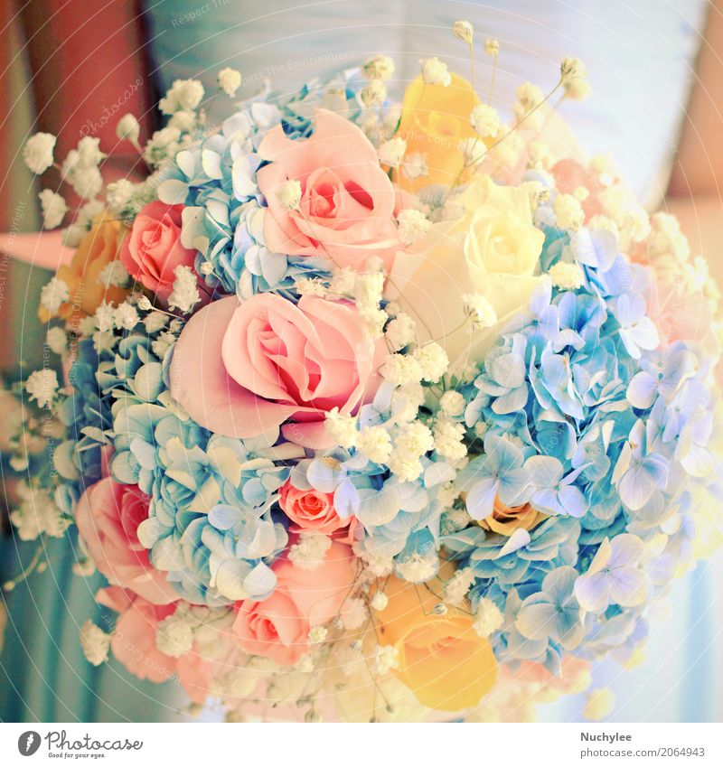 Bride or bridemaid with bouquet Woman Blue Colour Beautiful White Hand Flower Adults Love Fashion Feasts & Celebrations Pink Elegant Decoration Retro