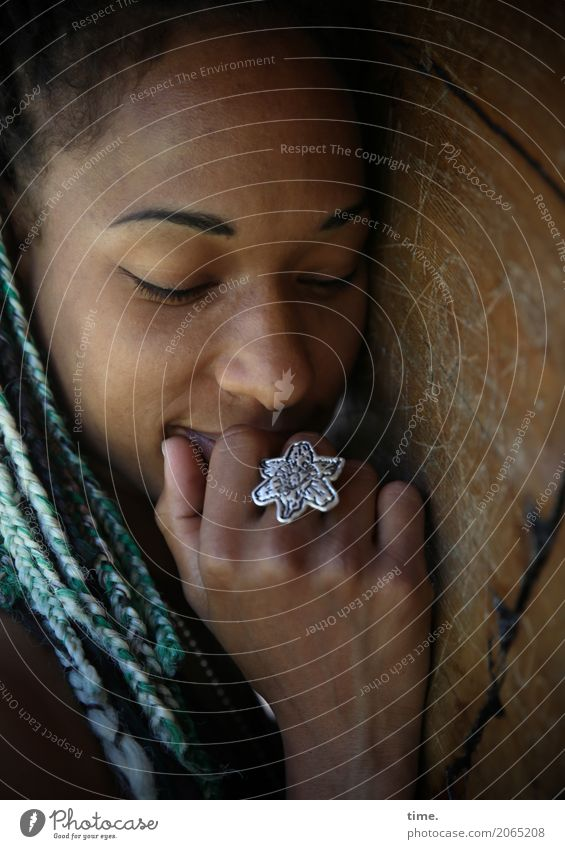 . Feminine Woman Adults 1 Human being Tree Jewellery Hair and hairstyles Long-haired Dreadlocks Afro Relaxation Smiling Dream Dark Cuddly Beautiful Warmth