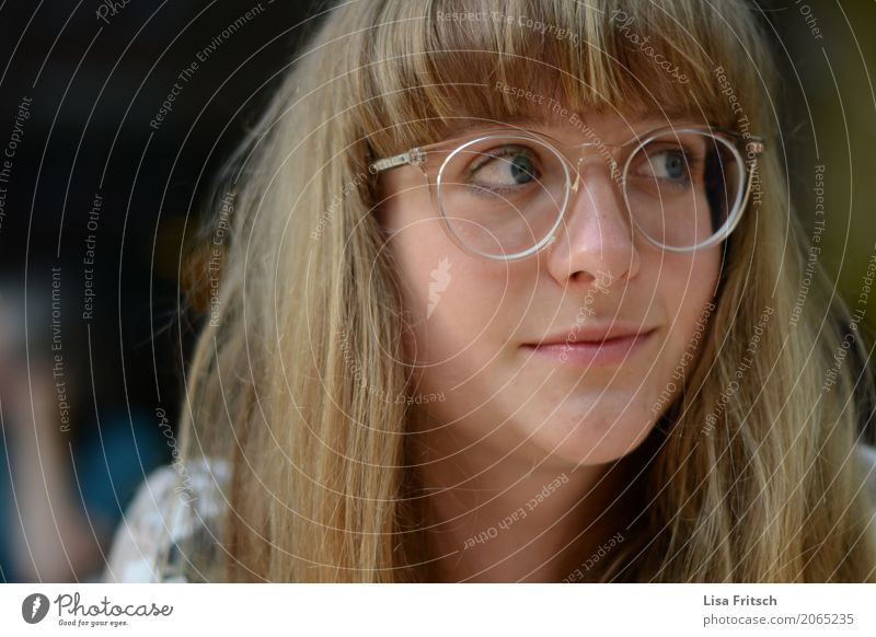 young pretty woman with glasses Lifestyle already Head Hair and hairstyles Face 1 Human being 18 - 30 years Youth (Young adults) Adults Eyeglasses Blonde Bangs