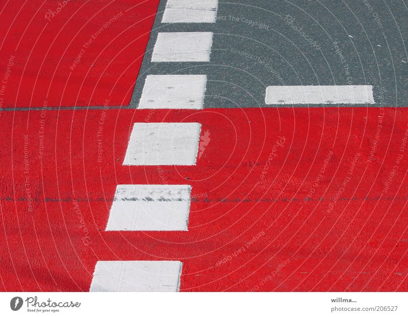 White Red Street Gray Line Signs and labeling Asphalt Traffic infrastructure Road traffic Crossroads Lane markings Cycle path Lanes & trails Warning colour Pedestrian crossing Dashed line