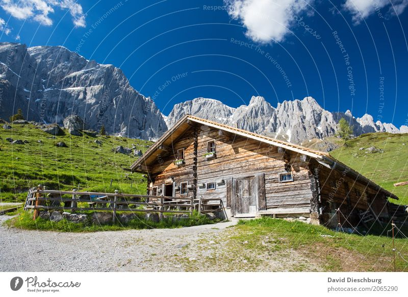 mountain hut Vacation & Travel Tourism Trip Expedition Summer vacation Mountain Hiking Nature Landscape Sky Clouds Spring Beautiful weather Plant Meadow Rock