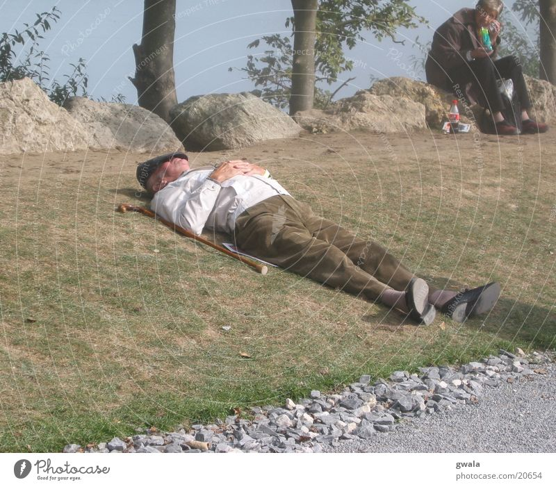 Human being Man Old Calm Adults Relaxation Life Senior citizen Trip Hiking Masculine Lie Sleep Break Cute Lawn