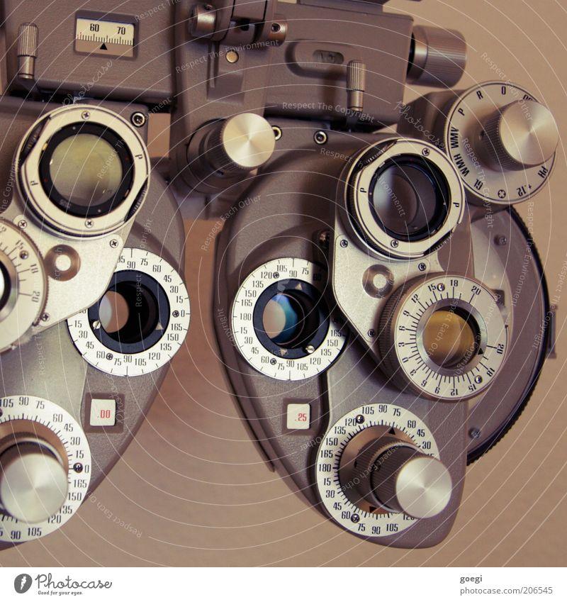 Old Metal Glass Eyeglasses Lens Measuring instrument Refraction Equipment Doctor Looking Optician Vision Eye test Lens strength