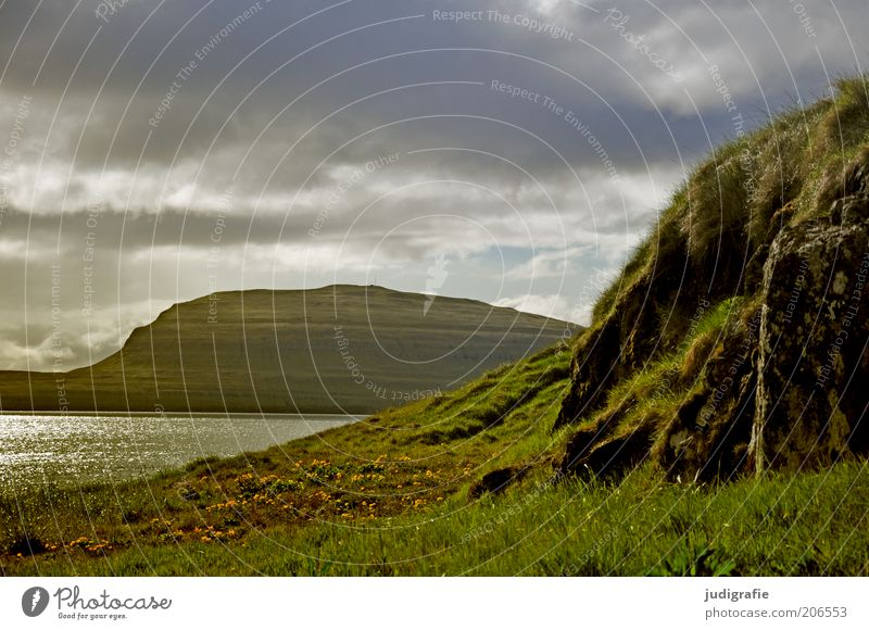 Nature Water Sky Ocean Plant Clouds Loneliness Grass Mountain Landscape Moody Environment Rock Island Climate Natural