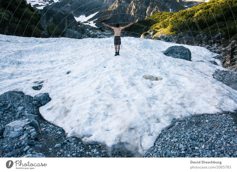 Global warming Vacation & Travel Adventure Freedom Winter Snow Mountain Hiking Masculine Body 1 Human being Landscape Spring Autumn Warmth Rock Alps Peak
