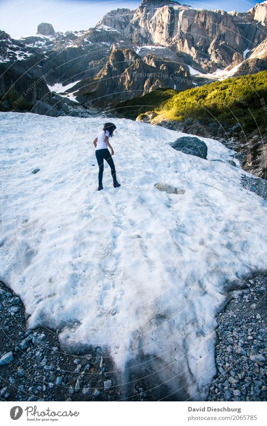 On thin ice Vacation & Travel Adventure Expedition Mountain Hiking Feminine 1 Human being Nature Landscape Spring Summer Autumn Winter Beautiful weather Ice