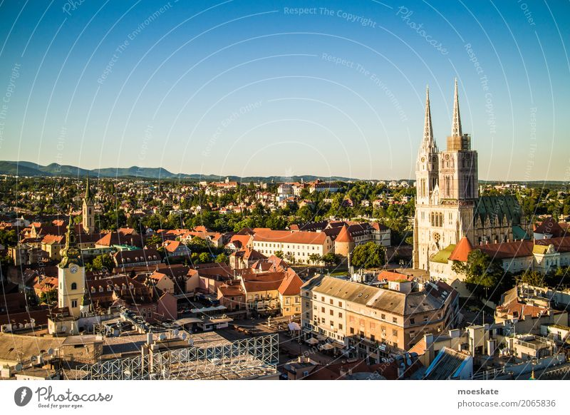 Zagreb, Croatia Town Capital city Downtown Old town Populated House (Residential Structure) Church Dome Manmade structures Building Landmark Blue Europe