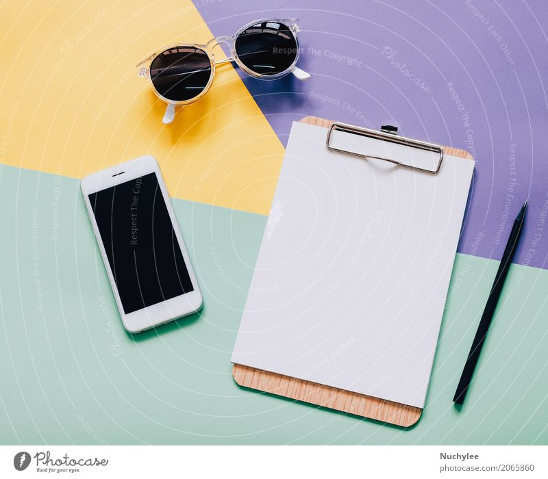 Flat lay style workspace desk on modern colorful background Colour White Black Lifestyle Style Business Fashion Design Work and employment Bright Copy Space