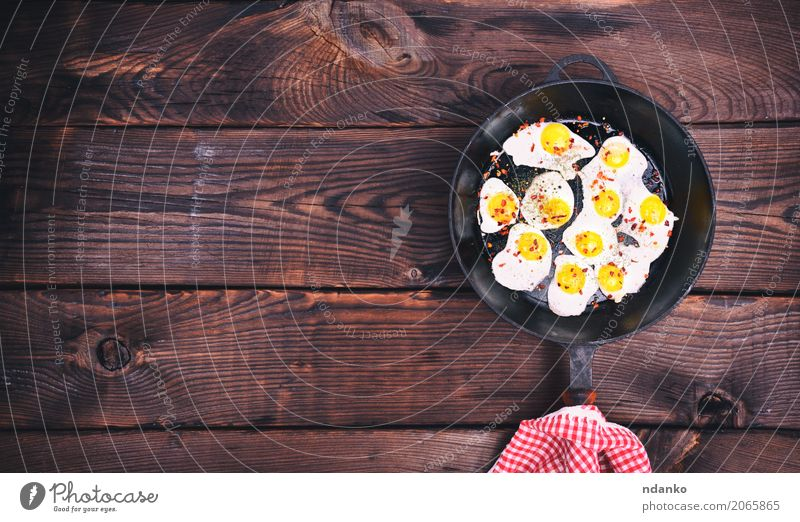 fried quail eggs White Dish Eating Natural Brown Above Retro Herbs and spices Kitchen Breakfast Meat Meal Top Feed Pan Protein