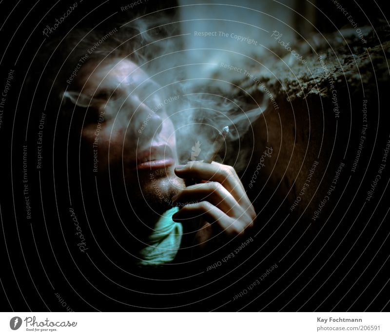 Human being Youth (Young adults) Adults Masculine Authentic 18 - 30 years Young man Smoking Intoxicant Cigarette Joint Portrait photograph Closed eyes Nicotine Risk Man