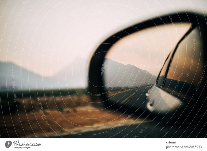 Amazing view of mountains inside mirror of car on road trip Lifestyle Vacation & Travel Trip Mountain Mirror Landscape Transport Street Crossroads