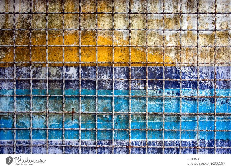 behind bars Fence Line Stripe Old Broken Blue Yellow Decline Transience Background picture Grating Grid Metal Change Colour photo Multicoloured Close-up