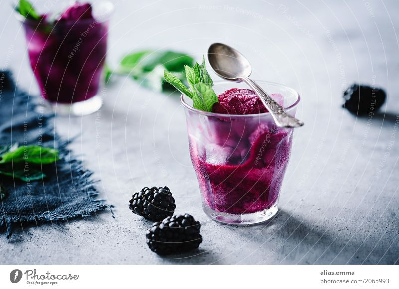 Blackberry sorbet Sorbet Ice Ice cream Fruit Dessert Summer Violet Berries Mint recipe Cooking Refreshment Fresh Cold Frozen Food Healthy Eating Dish