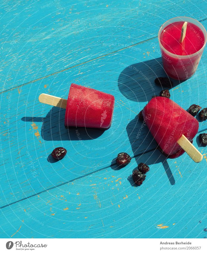 Summer Cold Ice cream Sweet Cool (slang) Delicious Frozen Dessert Refreshment Snack Self-made Fruity Refrigeration Lollipop Sorbet Strawberry ice cream