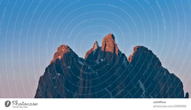 Nature Blue Mountain Rock Beautiful weather Point Peak Snowcapped peak Alps Dusk South Tyrol Evening sun