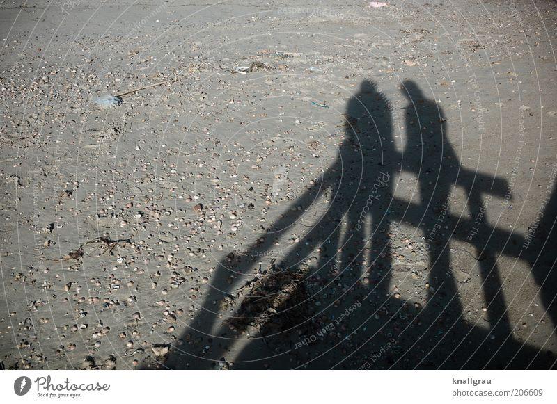Shadowmen #1 Summer Beach Ocean Human being 2 Nature Landscape Sand Dialog partner To talk Mussel Approach Discussion Trust confide Flotsam and jetsam